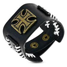 Genuine Black Leather Pattee Cross Stud Snap Wristband Bracelet BHY671