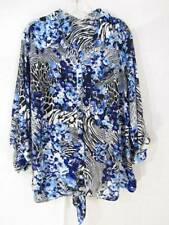 Coral Bay Sheer Floral Top 3X Blue White Purple Black Check Tie Fron Button Down