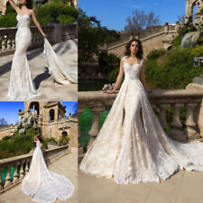 Hot White/Ivory Wedding Dress with Detachable Train Bridal Ball Gown Lace Custom