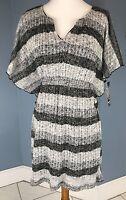 NEW Sequins Hearts Womens Kimono Sleeves Gray Striped Knit Dress Size Medium