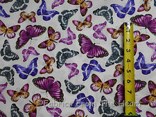 Papillon Garden Butterfly Pink Purple on White BY YARDS Benartex Cotton Fabric