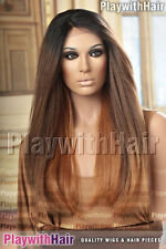 VOLUME!! Long Full Lace Front Wig Heat Safe Red Blonde Regrowth