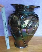 """Vintage Silvestri glass mouth blown wrought iron metal swirl inlay13"""" iridescent"""
