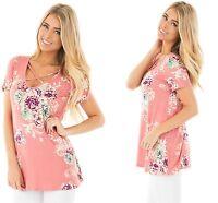Women Pink Short Sleeve Blouse V Neck Floral Top Beach T Shirt 8 10 12 14 16 18