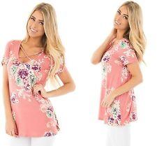 Women Pink Short Sleeve Blouse V Neck Floral Top Beach T Shirt 8 10 12 14 16 18 XXL (18-20)
