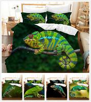 3D Chameleon Animal Duvet Cover Bedding Set Comforter Cover Pillowcase 3PCS