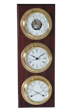 Barigo 386 Vertical Captain's Weather Station Barometer Clock Thermo Hygro Brass
