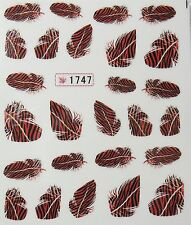 Nail art stickers décalcomanie mode: Plumes design - rouge/marron - tigré noir