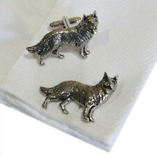 Silver Pewter German Shepherd Dog Cufflinks Handmade in England Cuff Links New