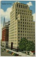 Postcard Raleigh NC Insurance Building Fayetteville Street Cars 1930's 1940's