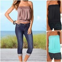 Womens Strapless Bandeau Boob Tube Tops Ladies Summer Casual Blouse T Shirt SP