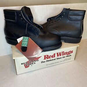VTG Red Wings Boots Mens 11.5 Black Leather Steel Toe Oil Resistant NEW W/ Box!