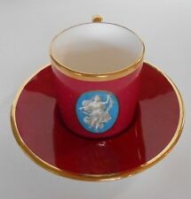 Minton Demitasse Cup & Saucer Maroon-Pink Gold Trim Made For Tatman Chicago