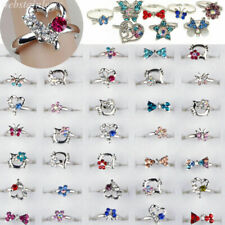 50/100pcs Wholesale Lots Mixed Jewelry Cz Crystal Rings Children Kids Band Ring
