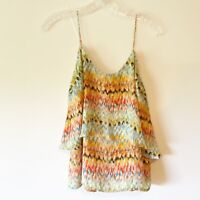 Paper Crane Boho Sleeveless Blouse Floral Layered Straps Size Medium