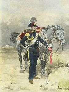 1880's European Military Officer in Uniform Antique Etching by Marchetti
