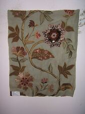 "Lee Jofa,  Mulberry Home ""Grandiflora"" embroidered floral color aqua and rose"