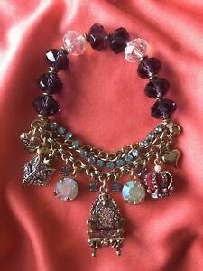 Betsey Johnson Vintage Imperial Princess Fox Throne Velvet Crown Charm Bracelet