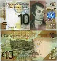 SCOTLAND 10 POUNDS CLYDESDALE BANK 2009 P 229 AU-UNC