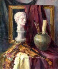 """Russischer Realist Expressionist Öl Leinwand """"Skulptur und Geige"""" 70x60 cm"""