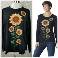 New Sahalie Saturday Market T-Shirt Plus size 2X Knit Top Sunflower Floral