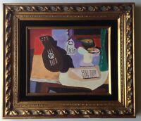 Original Cubist Oil Painting Still Life Mandoline manner of Georges BRAQUE