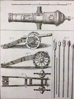 Rare Gravure Art Militaire 18ème Siècle Artillerie Canon Encyclopédie Diderot