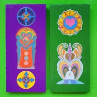 Vintage Mid Century 60s 70s Colorful Abstract Funky Hippie Love Wall Hanging Art