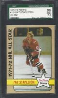 1972 Topps hockey card 129 Pat Stapleton Chicago Blackhawks grade SGC 86 NM+ 7.5