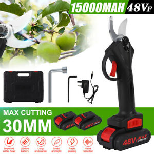 Cordless Electric Pruning Shears Secateur Branch Cutter Scissor with 2 Batteries