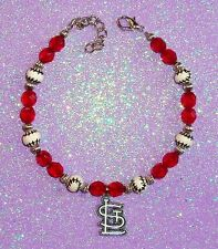 St Louis Cardinals New ANKLET Bracelet Quality NO Plastic Beads 9-11in MLB Charm