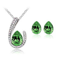 Silver Plated Set Deep Green Crystal Wings Studs Earrings Pendant Necklace S344