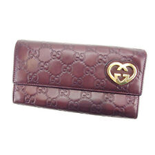 Gucci Wallet Purse Long Wallet Guccissima Purple Gold Woman Authentic Used Y3598