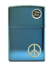 Zippo Peace on the Side Lighter 21055 Polished Blue Classic Case