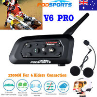 1200M V6 Motorcycle Intercom Bluetooth Headsets 6 Riders BT Helmet Interphone AU