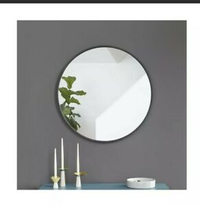 "Umbra 358370040 Hub Round Wall Mirror Rubber Frame Modern Entryways 37"" Black"