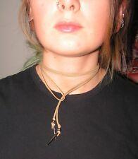 Beige Suede Velvet Bolo Tie Choker Necklace Silver Tone Pine Needles 160cm