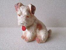"""Vintage Old Chalk Brown Spotted Puppy Dog Carnival Fair Prize Toy 7.5"""" tall"""