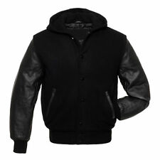 Black Premium Wool Body & Genuine Leather Sleeves Baseball Hooded Varsity Jacket