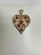 10k YELLOW GOLD RUBY HEART PENADANT