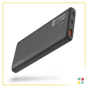 LinaSmart Powerbank 10.000 mAh USB3 USB-C schnellladen schlankes Design Schwarz