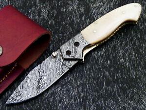 STUNNING CUSTOM HANDMADE DAMASCUS STEEL POCKET FOLDING KNIFE LINER LOCK WD-8961