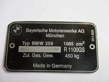 Typenschild geätzt Schild BMW R 210 kg s36 Motorrad ID-plate placca