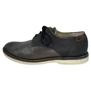 LACOSTE SHERBROOKE Leather Oxfords Shoes Grey Loafers Size EUR 45 - 11.5 US