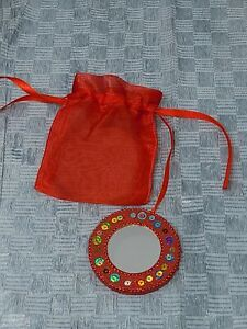 Small Round Compact Mirror Red W/ Sequins & Mesh Bag
