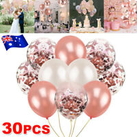 30PCS Confetti Balloons Rose Gold Wedding Birthday Marriage Party Decorations