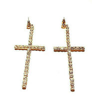 Vintage Jewelry - 1970s Jazzy Giant Rhinestone Cross Couture Statement Earrings