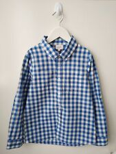 SEED HERITAGE Boys Blue & White Cotton Check LS Shirt - Size 6-7