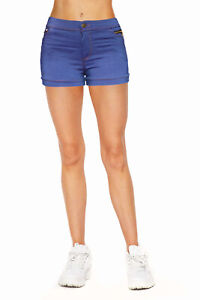 Women Jean Casual Summer Mid Waist Stretch Fitted Denim Shorts