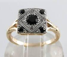 9K GOLD 9CT GOLD ONYX DIAMOND ART DECO INS RING FREE RESIZE